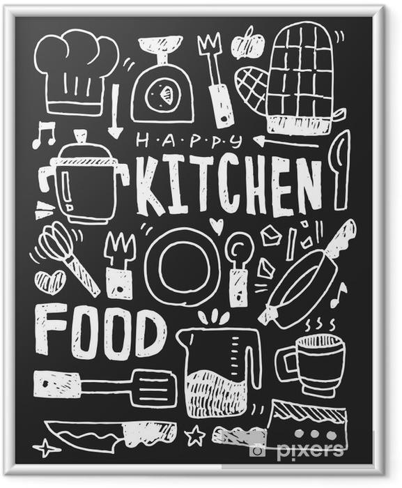 Póster com Moldura Cozinha elementos doodles mão linha traçada ícone, eps10 - Recursos Gráficos