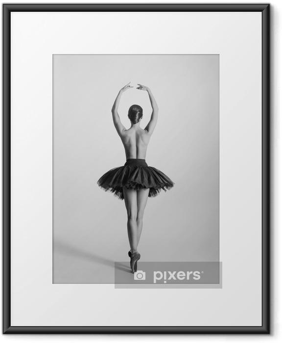 Poster in Cornice Traccia in bianco e nero di un ballerino topless - Lingerie