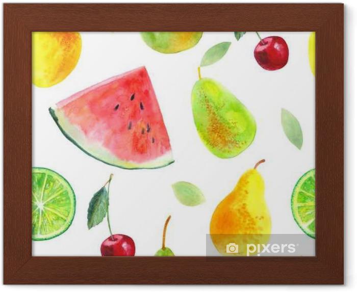 Poster en cadre Seamless avec des poires de chaux fruit.Watermelon de citron et cherry.Food picture.Watercolor main illustration dessinée. - Nourriture