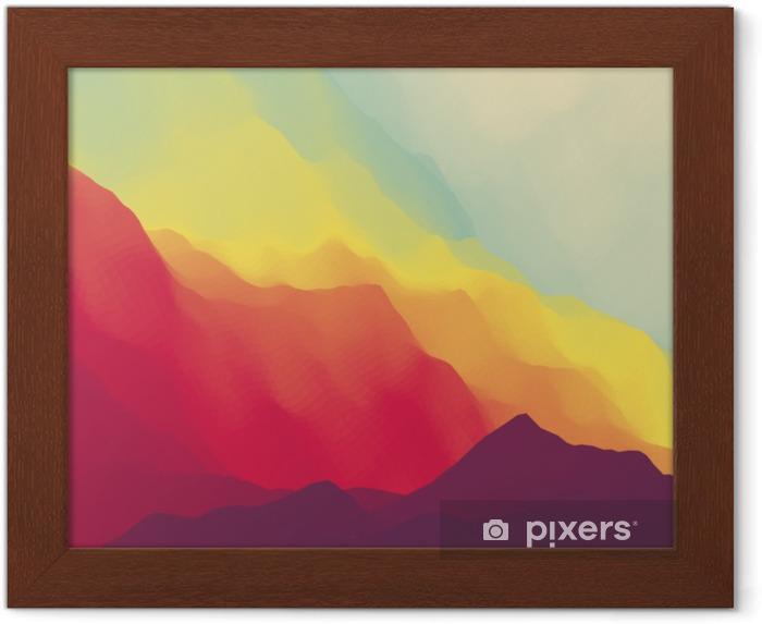Ingelijste Poster Berglandschap. bergachtig terrein. bergontwerp. vector silhouetten van bergen achtergronden. zonsondergang. kan worden gebruikt voor banner, flyer, boekomslag, poster, webbanners. - Landschappen