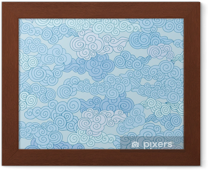 Poster en cadre Nuage abstrait tourbillon formes carrelé géométrique dans le style chinois ciel ornemental - Ressources graphiques