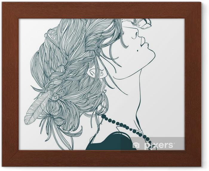 Ingelijste Poster Profiel van mooie vrouw met vlinder - Mensen