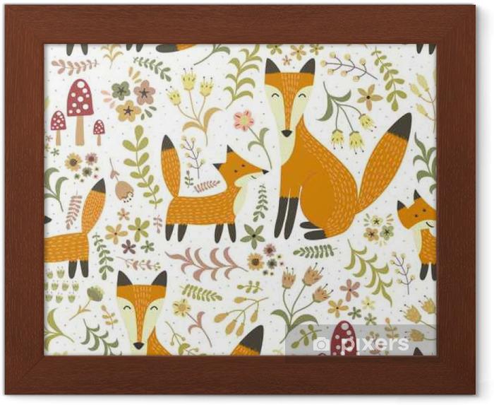 Poster en cadre Seamless adorable avec mignon renard - Mère renard et son bébé - Ressources graphiques