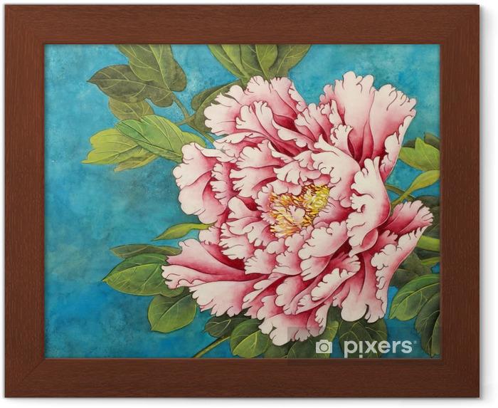 Plakat w ramie Różowa piwonia na niebieskim tle - Rośliny i kwiaty
