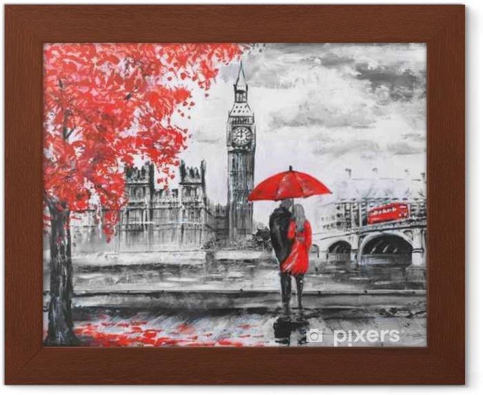 Póster com Moldura .oil pintura em tela, opinião da rua de Londres, rio e ônibus na ponte. Obra de arte. Big Ben. homem e mulher sob um guarda-chuva vermelho - Viagens