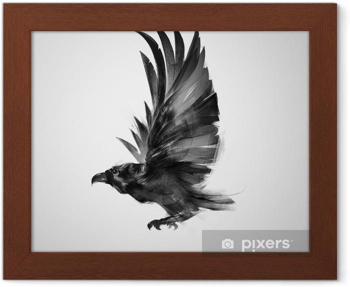 Plakat w ramie Izolowane graficznie latający ptak czarna wrona - Zwierzęta