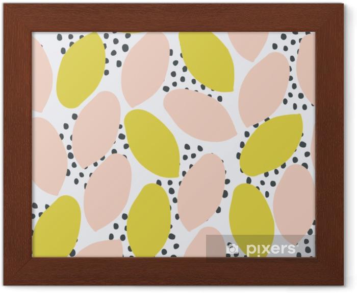 Ingelijste Poster Abstract naadloos patroon in groen, perzik en zwart op witte achtergrond. - Grafische Bronnen