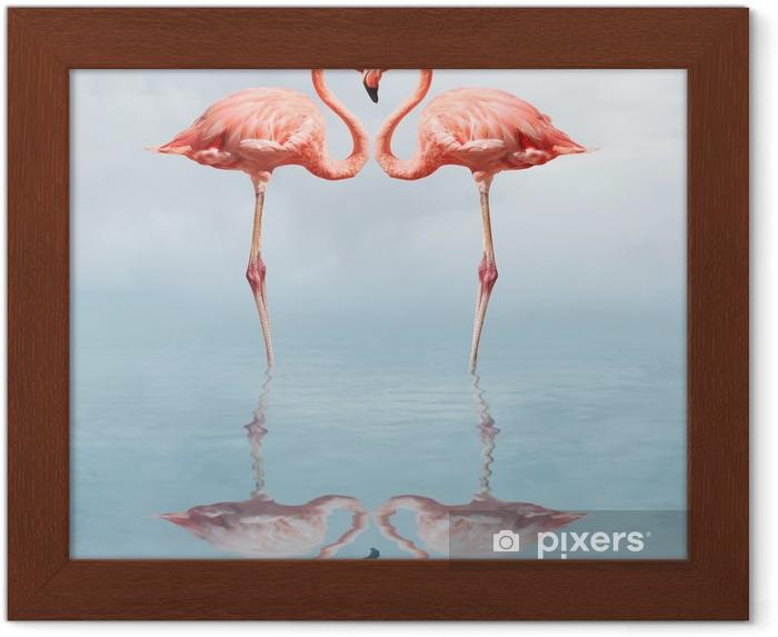 Plakat w ramie Making love - Flamingi