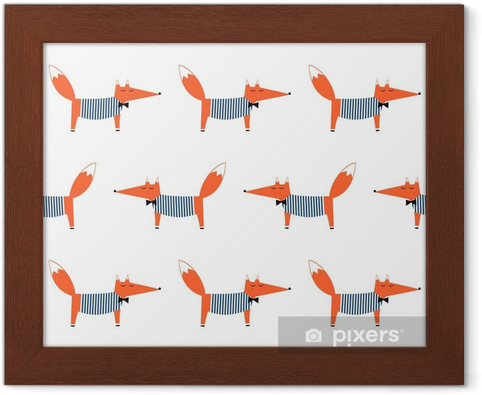 Gerahmtes Poster Französisch-Stil Fuchs nahtlose Muster. Nette Karikatur foxy Vektor-Illustration. Kind Zeichnung Stil Tier Hintergrund. Mode-Design für Gewebe, Textil. - Tiere