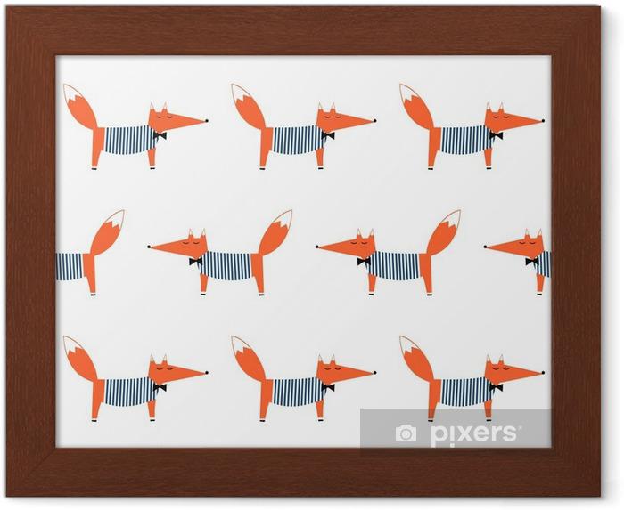 Plakat w ramie Francuski styl fox szwu. Cute cartoon ilustracji Foxy wektorowych. Dzieci rysunek styl tła zwierząt. projektowanie mody do tkanin, wyrobów włókienniczych. - Zwierzęta