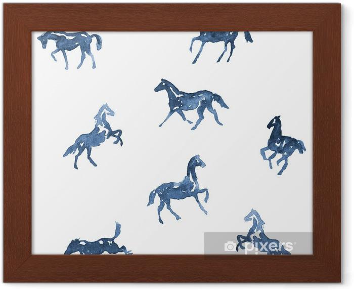 Suluboya El Boyama Atları Deseni El çizimi Arka Planı Siluet Atlar