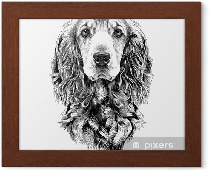 Poster en cadre Race de chien cocker spaniel museau, croquis de graphiques vectoriels dessin noir et blanc - Animaux