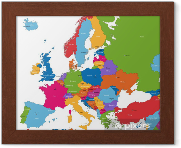 Varikas Eurooppa Kartta Maissa Ja Paakaupungeissa Kehystetty
