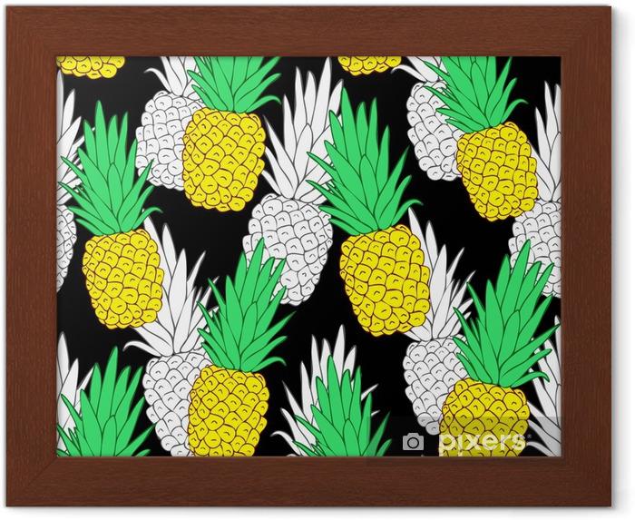 Egzotik Ananas Ile Tropik Sorunsuz Desen Siyah Arka Plan Vektörel