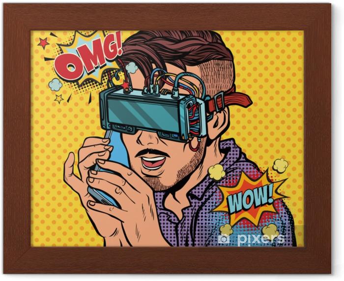 Obrazek w ramie Hipster człowiek w okularach wirtualnej rzeczywistości rozmawia przez telefon - Ludzie