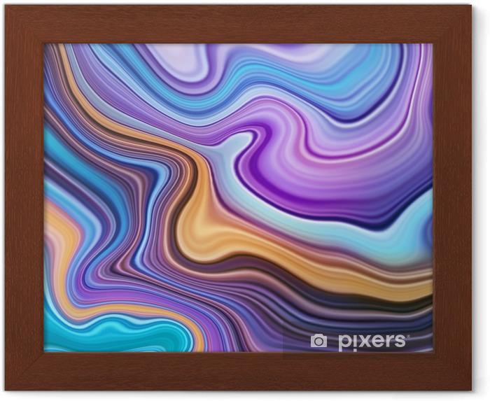 Image Encadrée Texture Abstraite Art Fluide Fond Marbré Bleu Jaune Agate Macro Peinture Marbrée Décorative Effet De Marbrure Liquide Fond D écran