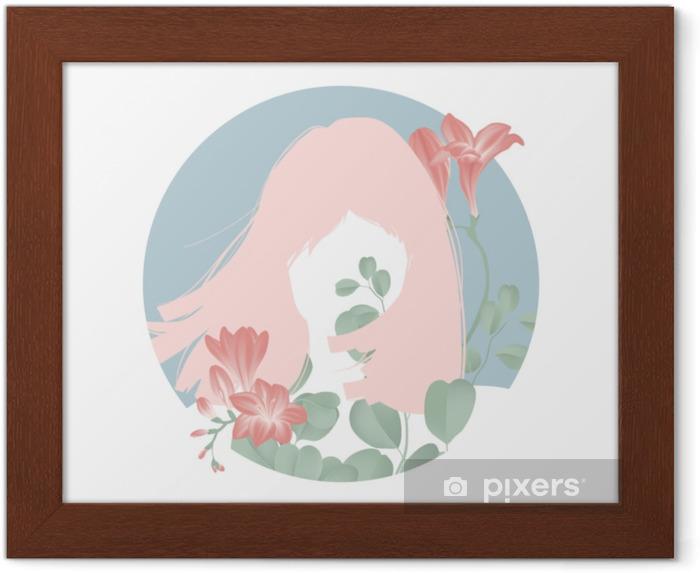 Plakat w ramie Różowe włosy dziewczyna sylwetka z kwitnących czerwonych kwiatów frezji w niebieskie koło ramki - Ludzie