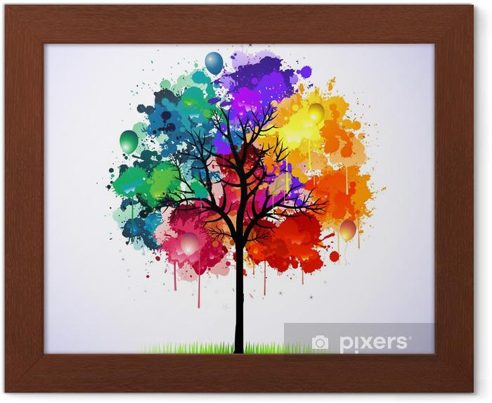 Poster en cadre Colorful abstrait arbre - Styles