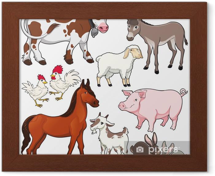çiftlik Hayvanları Vektör Ve çizgi Film Izole Karakter çerçeveli