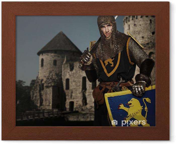 Poster en cadre Chevalier contre château médiéval. - Chevaliers