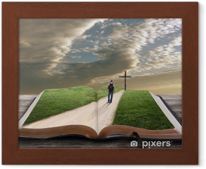 Póster Enmarcado Abra la biblia con el hombre y la cruz - Monumentos