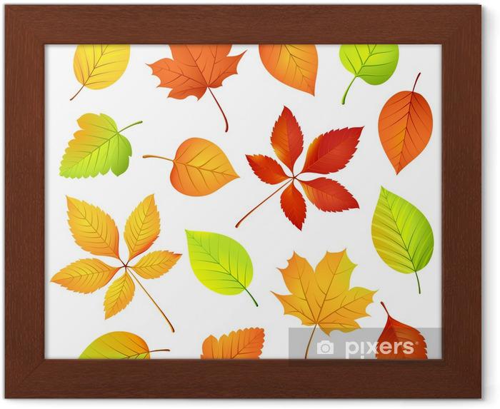 çerçeveli Poster Sonbahar Yaprakları Vektör çizim