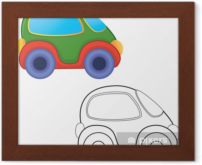 Vektör Oyuncak Araba Boyama Kitabı çerçeveli Poster Pixers