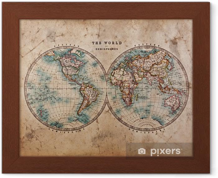 Gerahmtes Poster Old World Map in Hemispheres • Pixers® - Wir leben ...