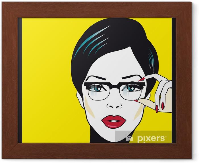 Plakat w ramie Okulary okulary portret kobiety zbliżenie. Kobieta ma na sobie okulary ho - Przeznaczenia