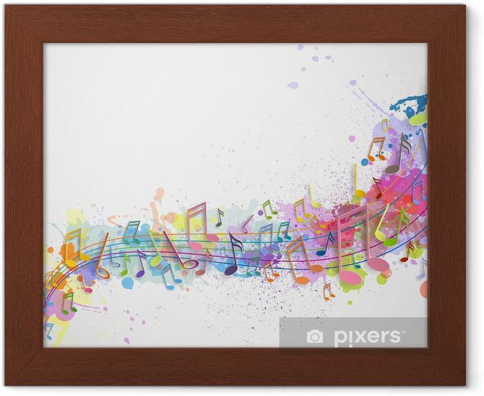 Póster Enmarcado Ilustración vectorial de un fondo abstracto con notas de música - Fondos