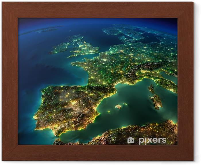 Plakat w ramie Noc ziemia. kawałek Europy - Hiszpanii, Portugalii, Francji - iStaging