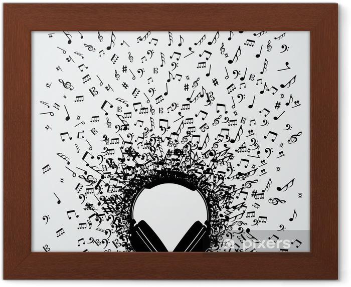 Plakat w ramie Notatki muzyki w słuchawkach odizolowane projektu - Muzyka