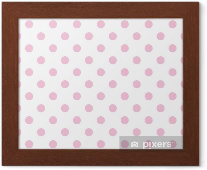 Gerahmtes Poster Nahtlose Vektor-Muster Pastell rosa Tupfen weißem Hintergrund - Themen
