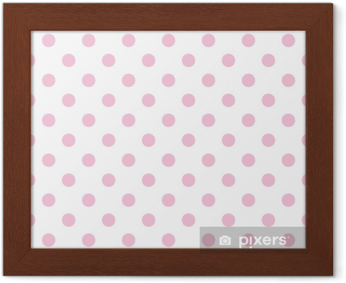 Póster Enmarcado Seamless vector patrón de color rosa pastel, lunares fondo blanco - Temas