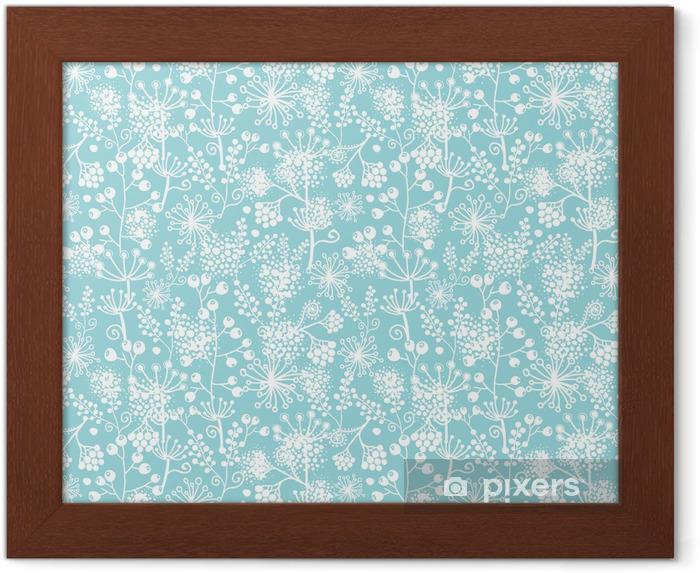 Plakat w ramie Vector niebieski i rośliny białe koronkowe szwu ogród - Tekstury