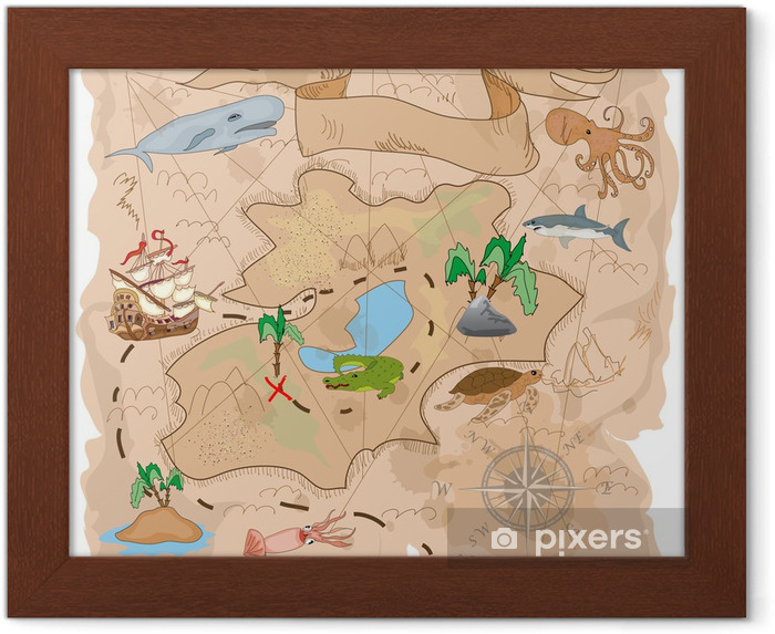 Gerahmtes Poster Treasure Island Karte - Boote