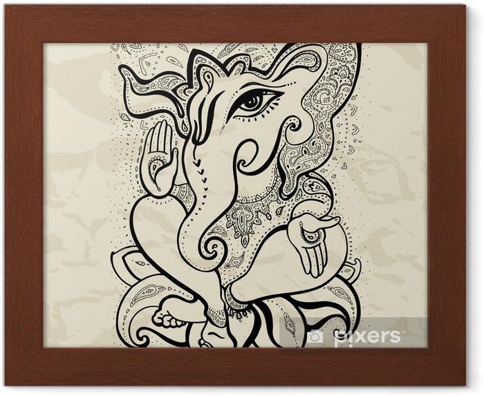 Ingelijste Poster Ganesha Hand getrokken illustratie. - Tekens en Symbolen