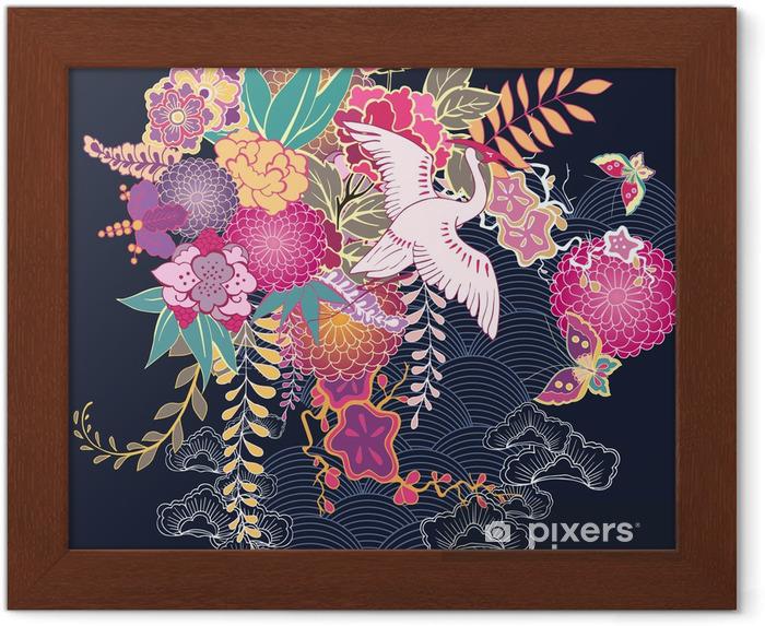 Poster en cadre Motif floral décoratif kimono - Fleurs