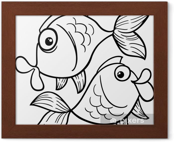 Zodyak Balık Burcu Ya Da Balık Boyama çerçeveli Poster Pixers