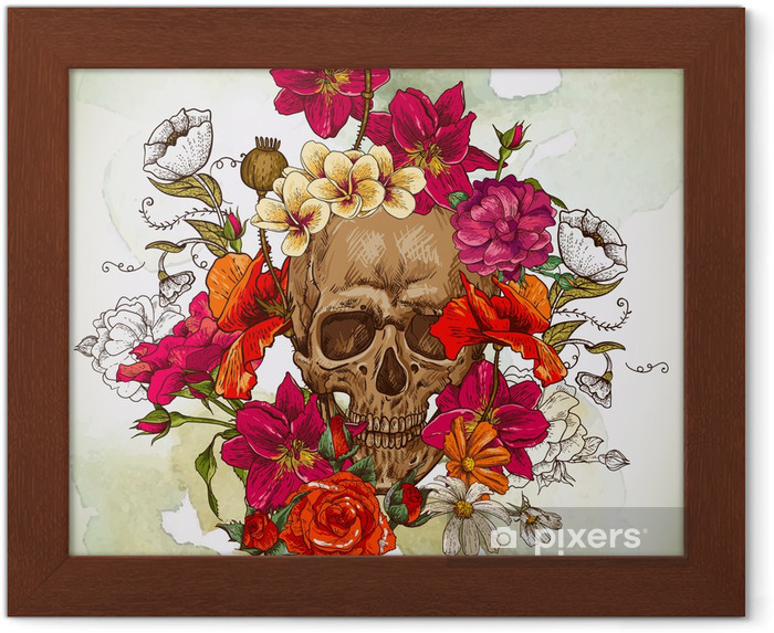 Póster Enmarcado Skull and Day Flowers of The Dead - Flores