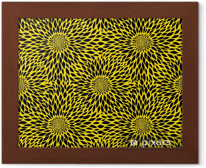 Ingelijste Poster Zonnebloem naadloos patroon - Texturen