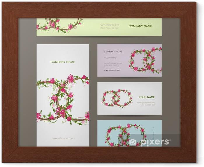 Gerahmtes Poster Visitenkarten Auflistung Hochzeit Design