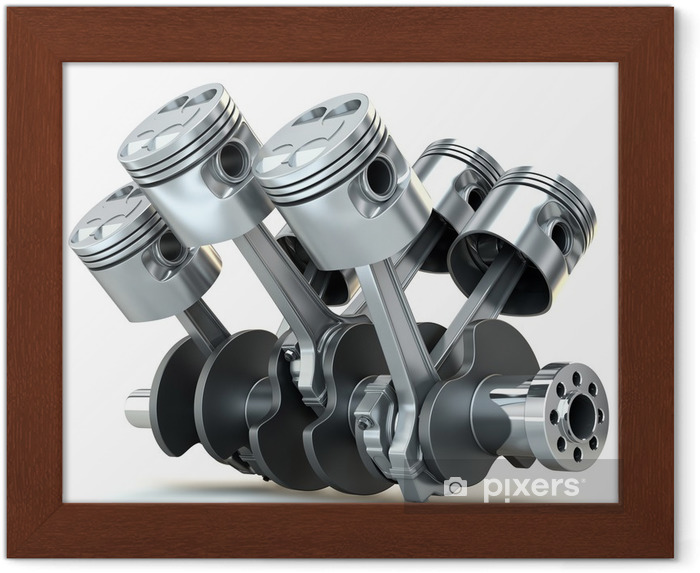 Poster en cadre Pistons du moteur V6. Image 3D. - Outils industriels