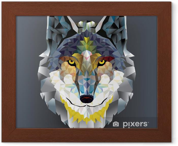 Gerahmtes Poster Wolf head geometrischen Muster. Vektor - Husky