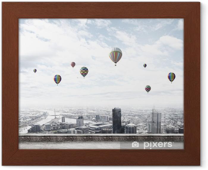 Ingelijste Poster Vliegende ballonnen - Stedelijk