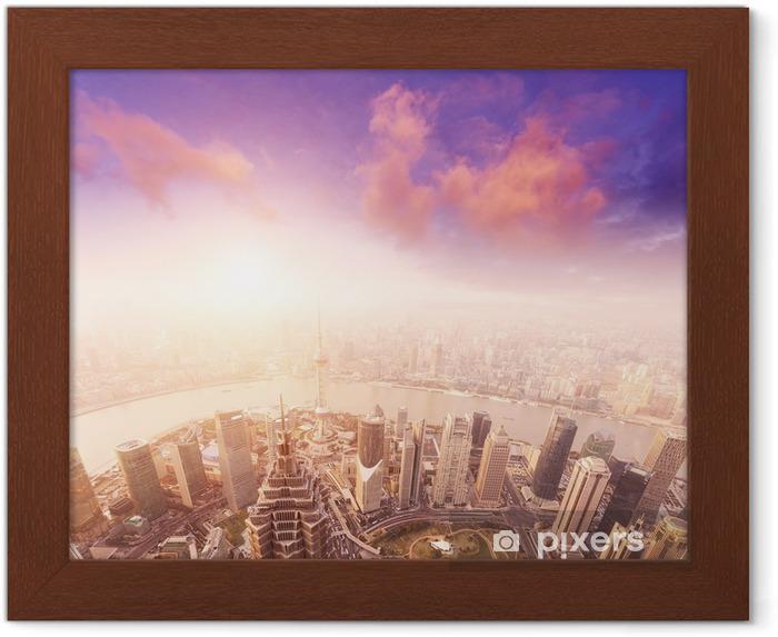 Plakát v rámu Panoráma města Šanghaj, mlhavý a oblačno -