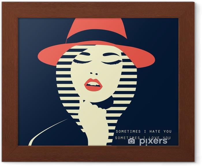 Gerahmtes Poster Stilisierte sexy Frau mit Hut - Menschen