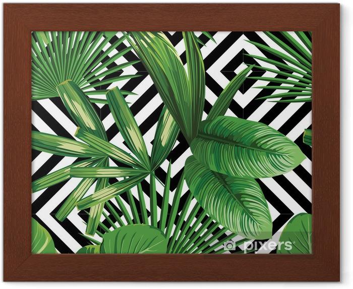 Póster Enmarcado Hojas de palmera tropical modelo, fondo geométrico - Canvas Prints Sold