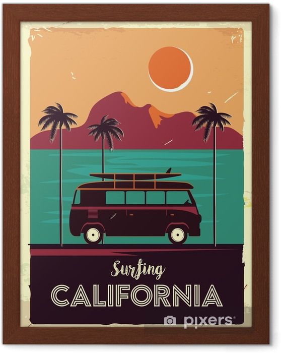 Çerçeveli Poster Palmiye ağaçları ve van ile grunge retro metal işareti. Kaliforniya'da sörf yapmak. vintage reklam afişi. eski moda tasarım - Manzaralar
