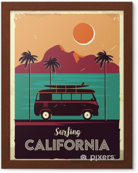 Póster Enmarcado Signo de metal retro grunge con palmeras y van. Surfeando en California. cartel de publicidad vintage. diseño anticuado - Paisajes